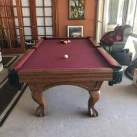 Oak Claw Foot Pool Table with Accessories