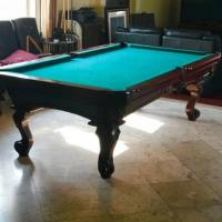 Pool Table with Overhead Light Fixture