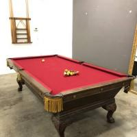 Vintage Red Velvet Clawfoot Leather Pocket full Size Pool Table