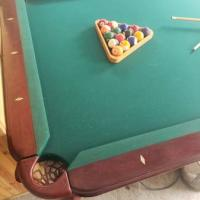 8ft Pool Table with Sticks and Pool Balls
